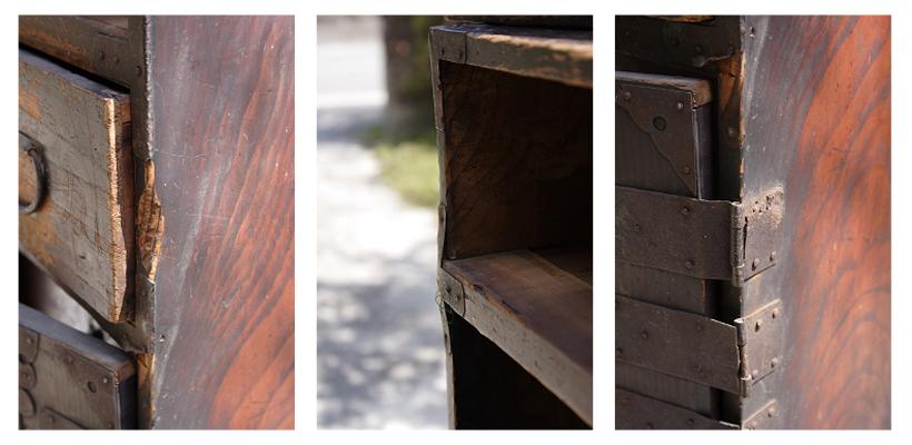 (左)大きな傷 (中)板の縮 (右)金具の腐食
